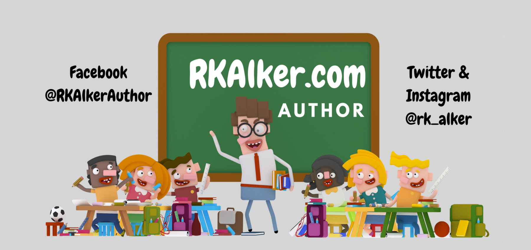 Children's Author RK Alker displaying his love for children's books as a English childrens author from Lancashire, United Kingdom