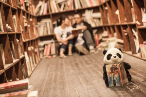 Funny kids books with a panda in a library