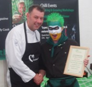 RK Alker Author as Little Green Men Winning First Prize at Southport Flower Show presented by Celebrity Chef Brian Mellor