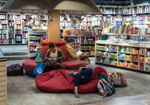 Books and beanbags in a bookshop with RK Alker Childrens Author the writer of funny childrens books in Lancashire, England, UK