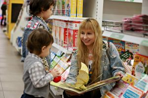 Kids Pop Up Book in a Bookstore with RK Alker Kids Author of funny childrens books in Lancashire, England, UK