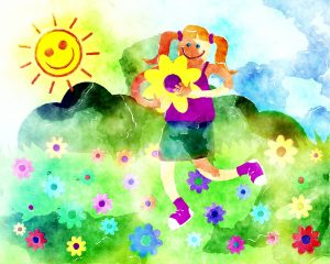 a watercolour of kids garden flowers with Kids Gardening RK Alker Children's Author Chilliman Grower Food Evangelist Cook from Little Green Men Chilli, Chorley, Lancashire, England, UK, Tel. 01772970190