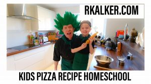 Kids Pizza Recipe being cooked by RK Alker Children's Author, The Chilliman, Chilli Rich Alker and Franki in the homeschool kitchen making a no yeast, eggless pizza dough and pizza sauce in 10 minutes, by Little Green Men Chilli